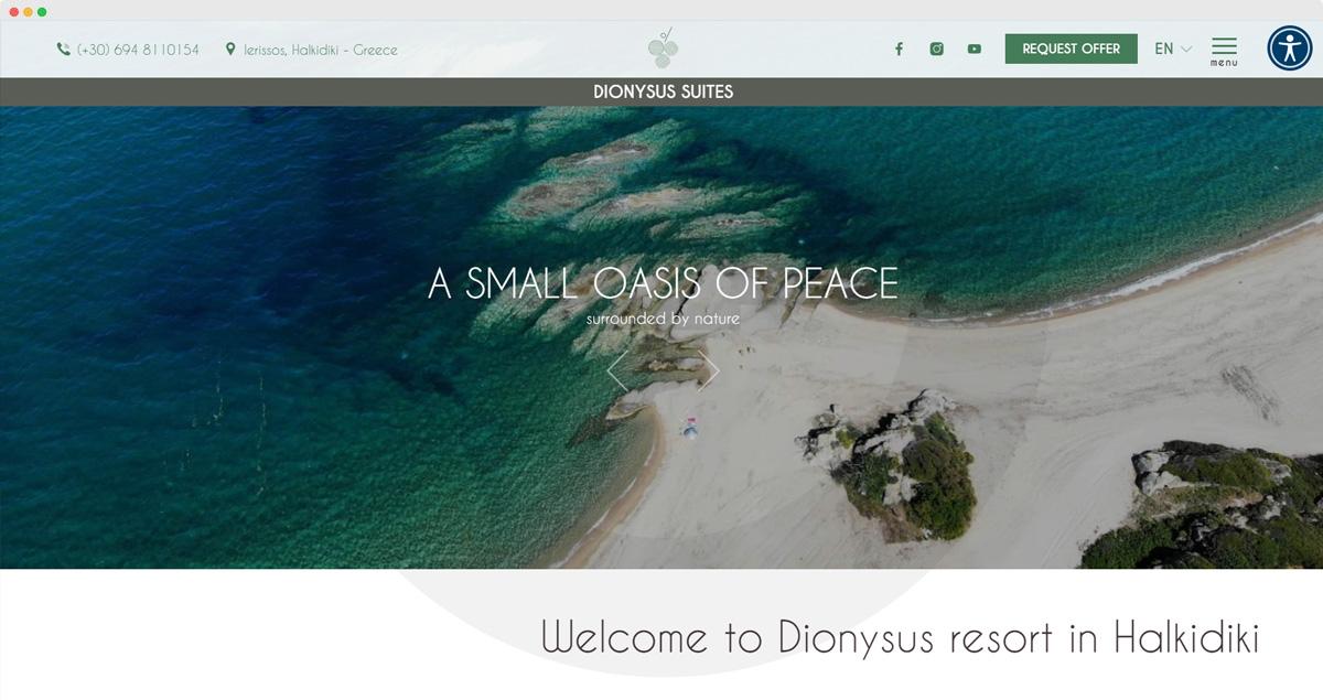 Dionysus Suites website - Halkidiki, Greece
